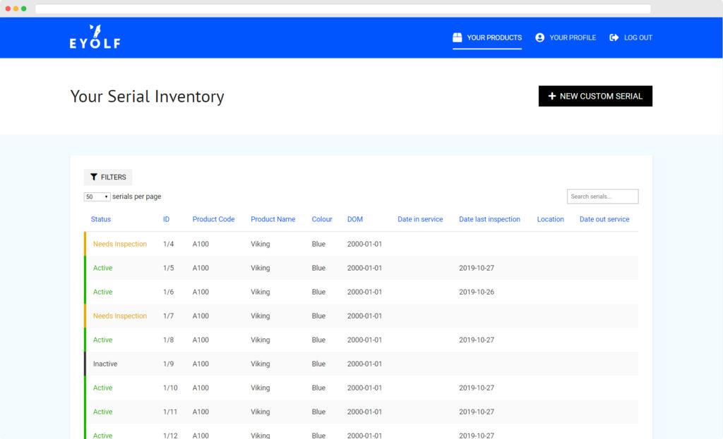 eyolf.ca Serial Inventory screen